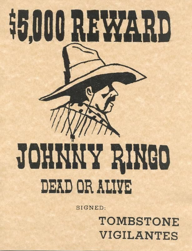 Old West Posters   Johnny Ringo Old West Reward Poster