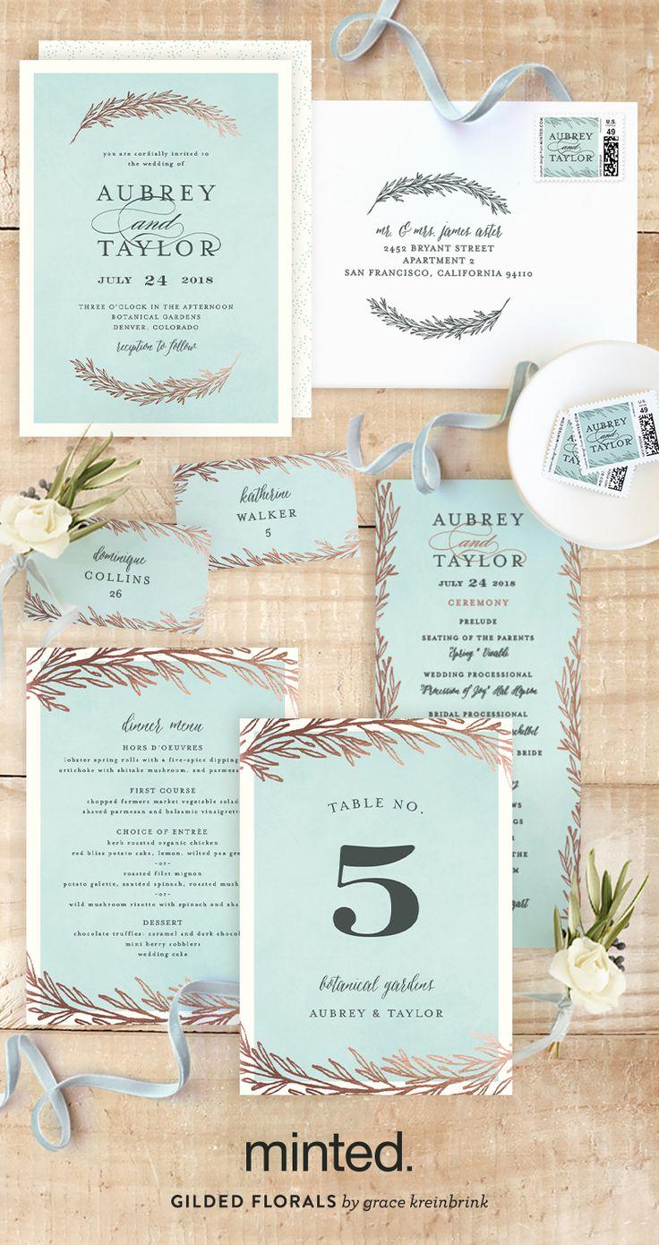 Dipped Laurels Customizable Foil pressed Wedding Invitations