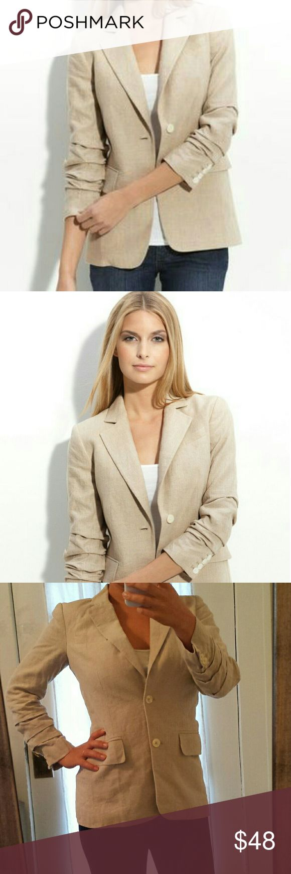 Michael Kors Natural Tan Linen Blazer Work Casual This is a beautiful blazer with an excellent fit.  Wear to work or with jeans and a tshirt. Sleeves are 3/4 length and ruched. Michael by Michael Kors Jackets & Coats Blazers