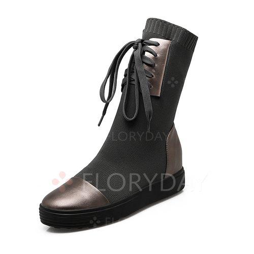 Oбувь - $64.62 - Женские ботинки на танкетке из кожи из ткани (1625118055)
