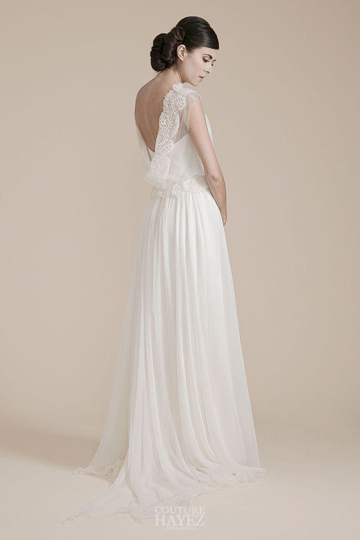 8572f0eee4de Abito da sposa leggero in chiffon di seta con blusa