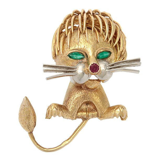 Pre-owned 14k Yellow Gold Whimsical Leo Lion Gemstone Estate Brooch