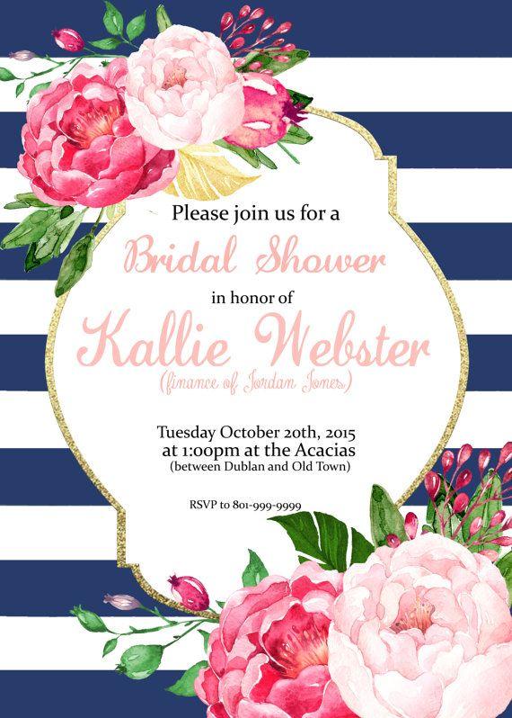 pink floral stripes invitation bridal shower baby shower brunch