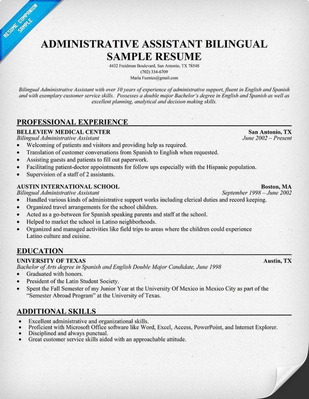 sample resume bilingual administrative assistant