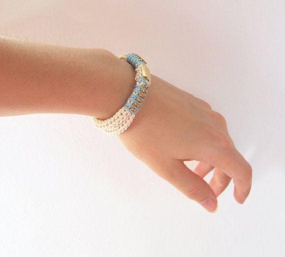 Knit bracelet with rhinestones beige cord bracelet by LeiniJewelry