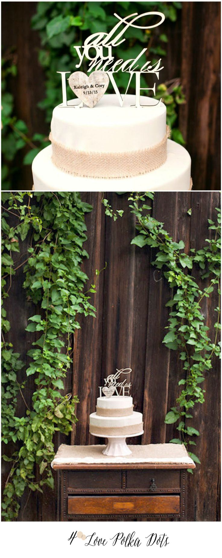 All you need is love ! Wooden Wedding Cake Topper #wood #wooden #weddingcaketopper #custom #green #greenery #weddingideas #rusticwedding