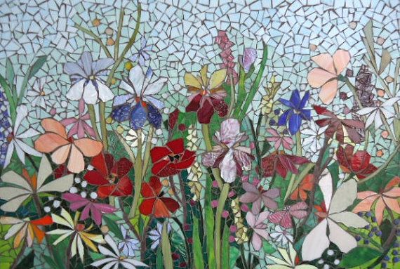MOSAIC MURAL - FLORAL glass garden mosaic panel for indoor/outdoor  2ft x 3ft via Etsy