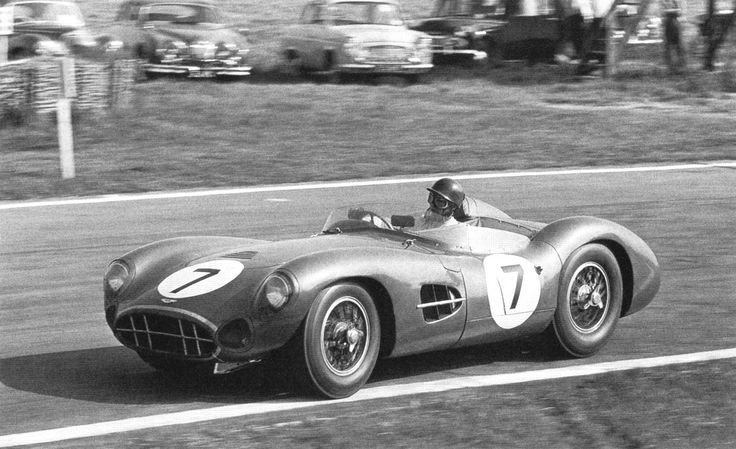 Aston Martin DBR1 (1958) Here being driven by Tony Brooks. The DBR1 took 1st and 2nd place at the 1959 24 Hours of Le Mans.