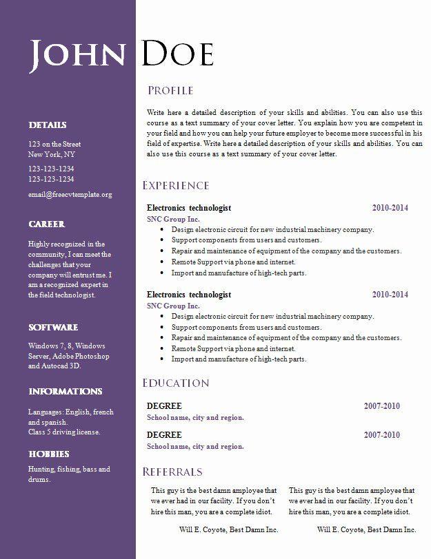 Creative Resume Templates Free Word Beautiful Free Creative Resume Cv Templat In 2020 Resume Template Word Creative Resume Template Free Microsoft Word Resume Template