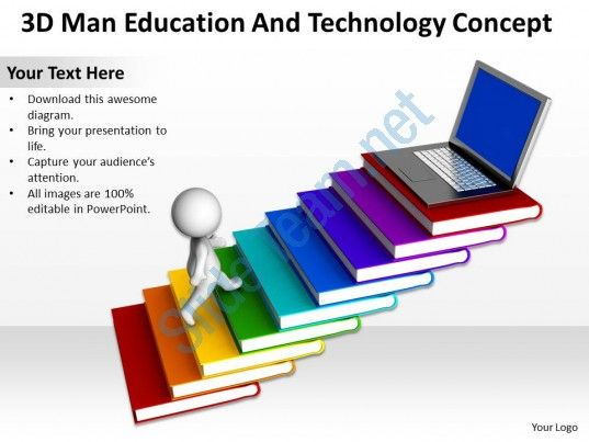 3d man education and technology concept ppt graphics icons Slide01