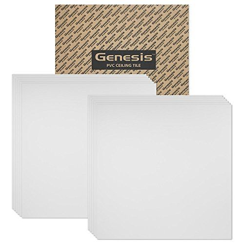 Genesis  Smooth Pro White 2x2 Ceiling Tiles 4 mm thick carton of 12  These 2x2 Drop Ceiling Tiles are Water Proof and Wont Break  Fast and Easy Installation and a Great Alternative to Acoustical Ceiling Tiles  25 Year Warranty 2 x 2 Tile * Details can be found by clicking on the image.
