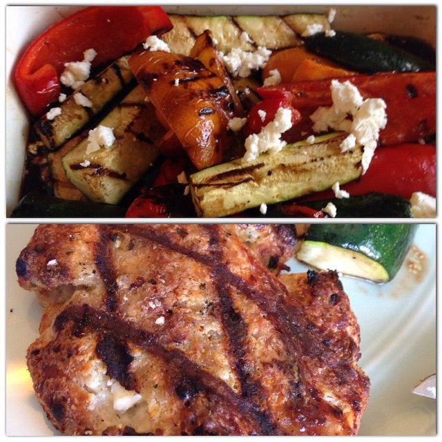 Top: grilled zucchini and bell peppers peppers in balsamic vinegar and feta cheese dressing; Bottom: home made Turkey burger with feta cheese and pesto