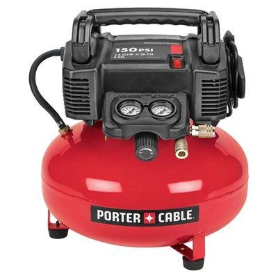 PORTER-CABLE C2002 0.8 HP 6-gal 150 PSI Pancake-Tank Electric Air Compressor