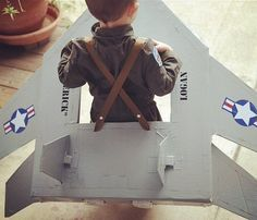 SO good!!! Fighter Jet + Pilot Costume! Image Source: Instagram user babybumpbeyond #HalloweenKids #Costume