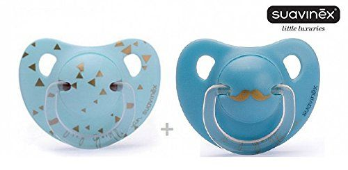"""SUAVINEX """"LITTLE LUXURIES"""" Nr. 3801058 - 2x Pacifier Soother Dummy Anatomical Silicone Teat/ BLUE (6m+)"""