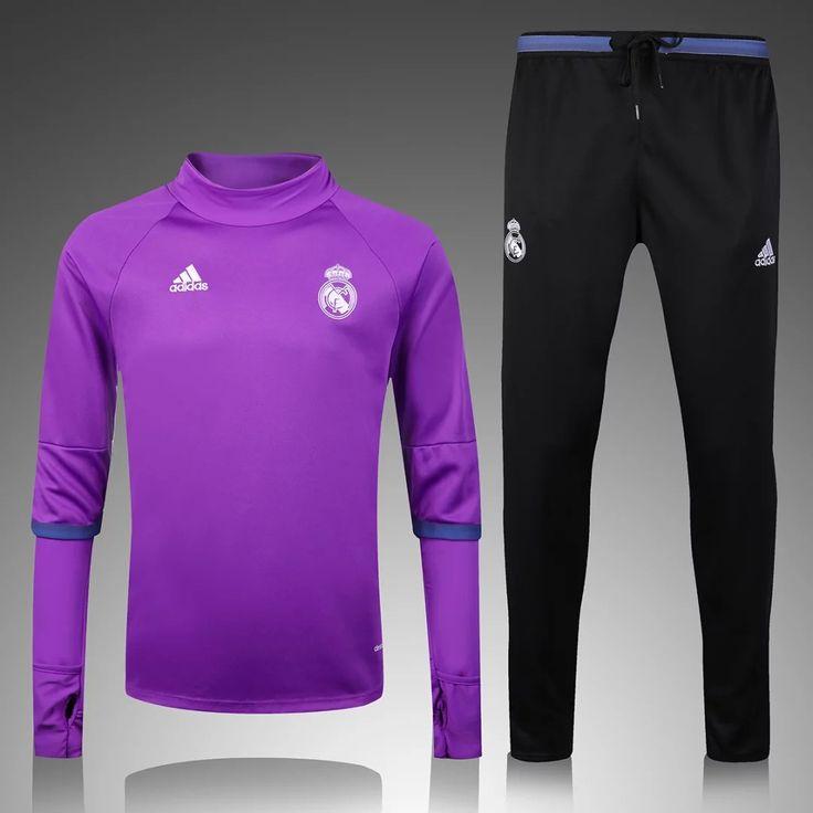 Real Madrid 2016/17 Purple Top Black Pants Men Tracksuit Slim Fit