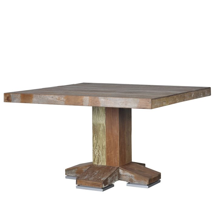 Необычный квадратный обеденный стол из массива дерева тика. Выполнен из антикварной древесины.             Метки: Деревянные столы, Кухонный стол, Обеденный стол из массива.              Материал: Дерево.              Бренд: Teak House.              Стили: Лофт, Прованс и кантри.              Цвета: Коричневый.