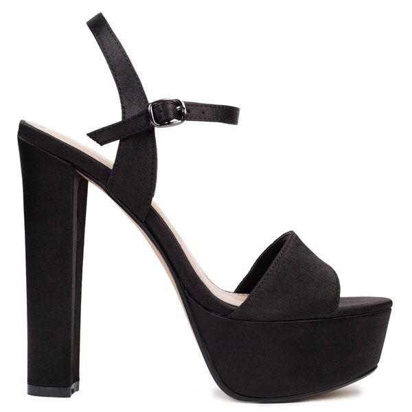 Black satin high heel sandal with band. Features platform and fastens with adjustable ankle strap.