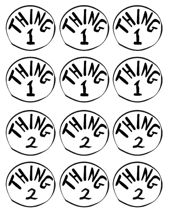 graphic about Thing 1 and Thing 2 Printable Template named Issue Just one And Detail 2 Printable Emblem