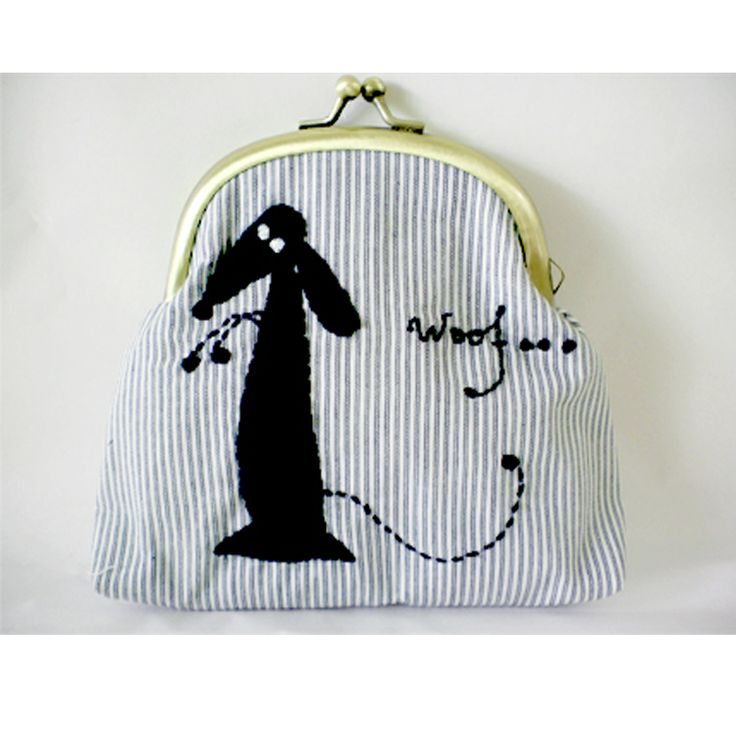"Sjoti ""Woof"" Hand Embroidered Frame Purse"