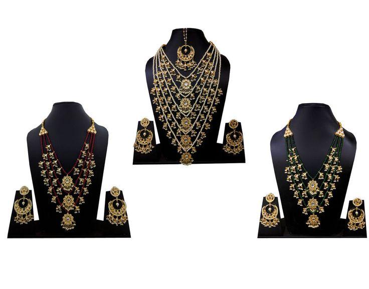 Jewelry Set Kundan Polki Indian Wedding Party Long Chain Necklace Earrings Set #Handmade