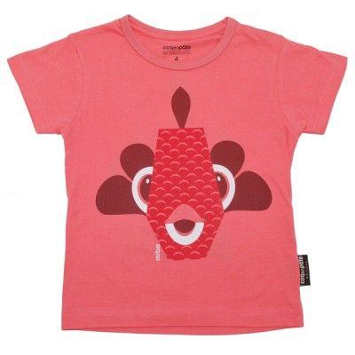 T-shirt enfant en coton bio avec motif poisson de l'illustratrice Mibo # t-shirt # enfant #animaux  http://www.coqenpate.com/manches-courtes/249-tee-shirt-manches-courtes-mibo-poisson.html
