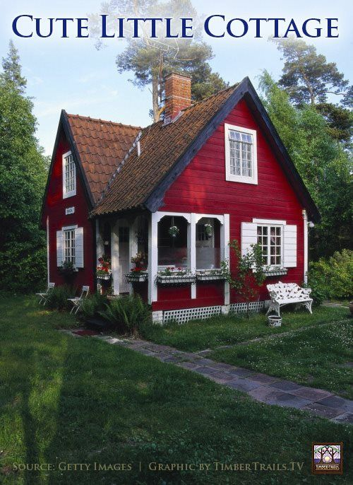 Cute Little Red Cottage Timber Trails Provides Custom Cabin Designs Prefab Cottage Kits And