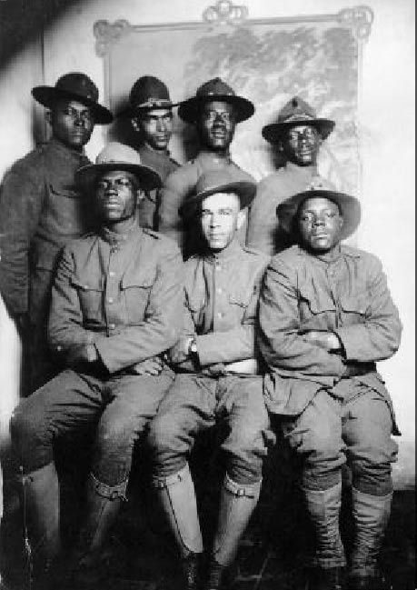 WWI African American soldiers, c. 1916-1917. Probably the 'Harlem Hellfighters'. ~ I've never understood why black soldiers fought in the First World War but were relegated to a minor role in World War Two. They served in WWII but mostly as support and artillery not front line or paratroops.