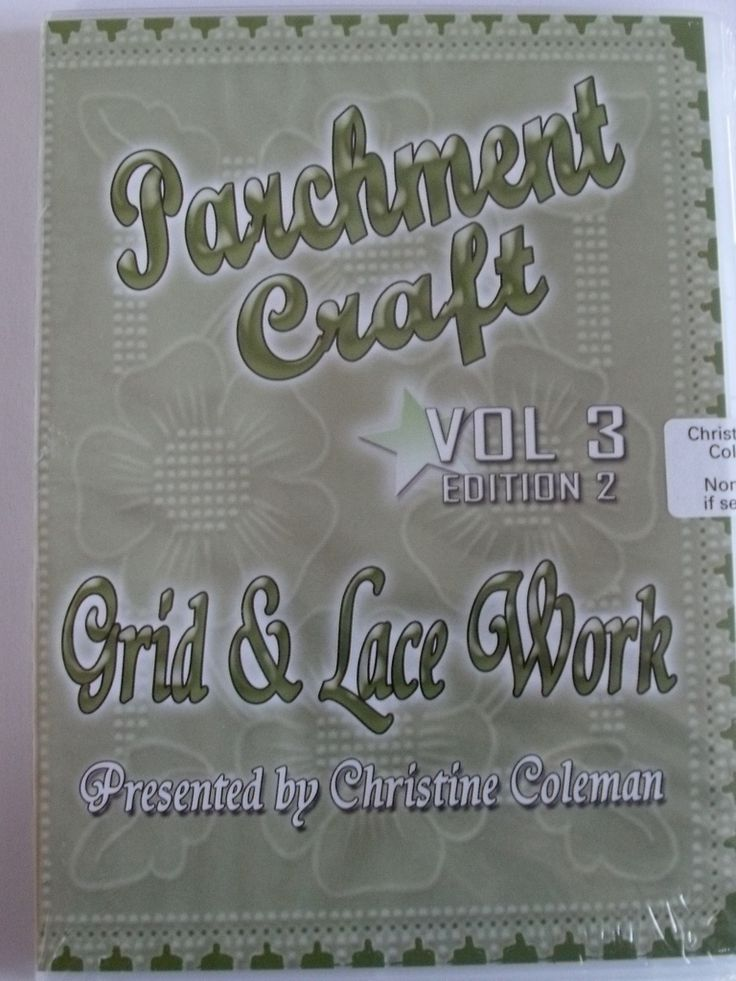 PARCHMENT CRAFT GRID AND LACE WORK DVD VOL 3 BY CHRISTINE COLEMAN    Christine Coleman's Grid and Lace Work DVD is a great starter guide to using PCA Flexi-Duo Grids and PCA tools to create beautiful patterns with both perforating and embossing. Christine shows you how to cut crosses and oct shapes and line up your parchment when perforating and embossing, while working throught several projects starting with bookmarks and then moving on to more complex projects.