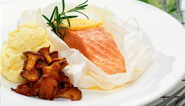 Laks med kantareller - Godfisk