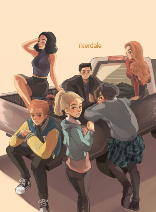 """✪◍Finally finished this Riverdale fanart! I can't draw cars accurately so forgive me about that matter ( ͡° ͜ʖ ͡°)  From top left-clockwise: Veronica Lodge, Kevin Keller, Cheryl Blossom, Forsythe Pendleton """"Jughead"""" Jones III, Elizabeth """"Betty"""" Cooper, Archibald """"Archie"""" Andrews✪◍ TV show Riverdale ✪◍"""