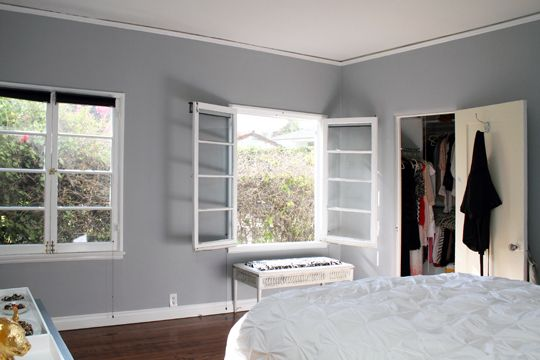 Love this wall color for a bedroom with white and black furniture which we have my style - Bed room color for girls ...