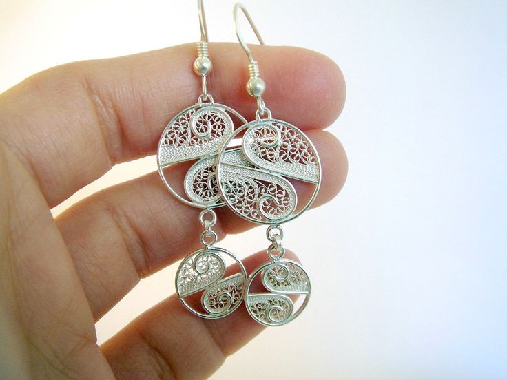 Sterling silver dangle earrings - handmade filigree. $56.00, via Etsy.