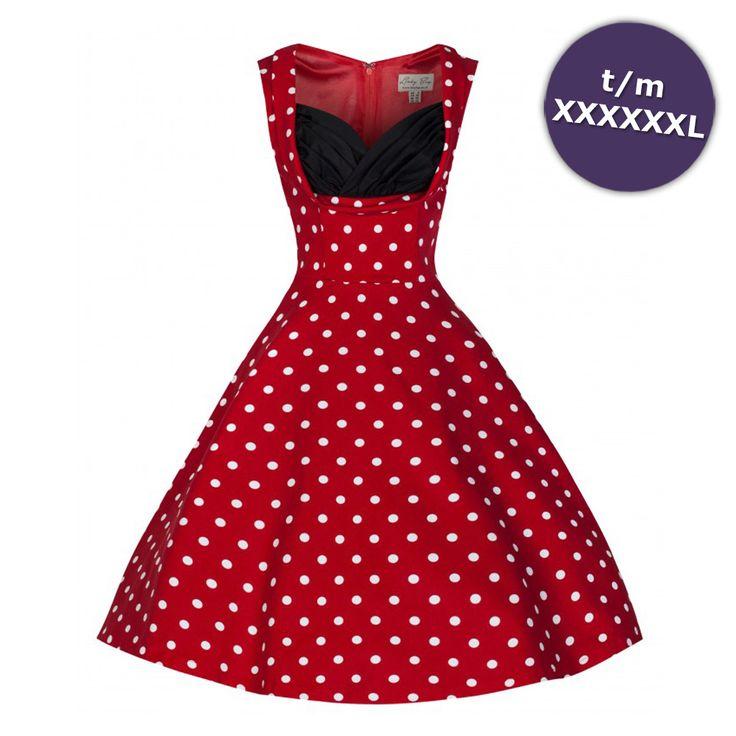 Swing Ophelia lange jurk rood met witte polkadot stippen - Vintage, 50's, Rockabilly, retro