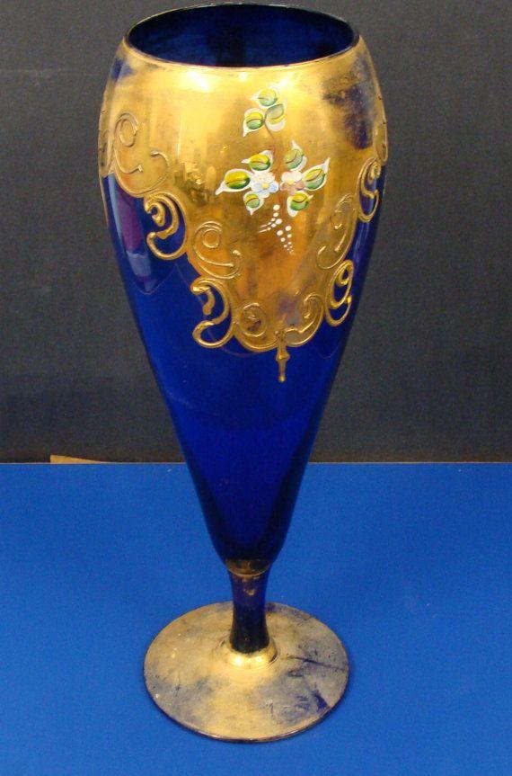 Cobalt Blue Venetian Glass Vase