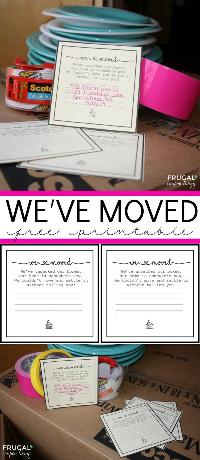 We love this Free Moving Printable - We've Moved! This and the top 50 Moving Hacks and Tips on Frugal Coupon Living.