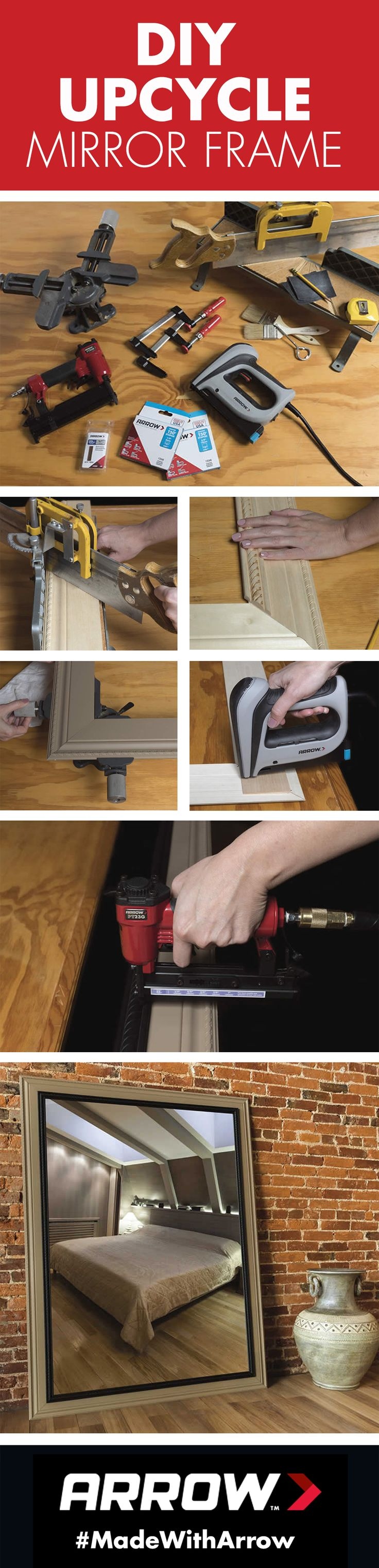 Build a frame for your full-length mirror with wood, wood glue and a staple gun like Arrow's T50ACD Compact Electric Staple Gun. Click for the full tutorial! www.arrowfastener.com