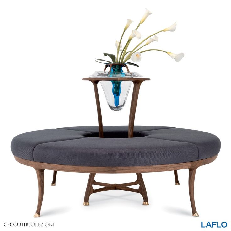 Large Flower A Round Sofa Made Of American Walnut With A Central Wooden  Vase Holder And
