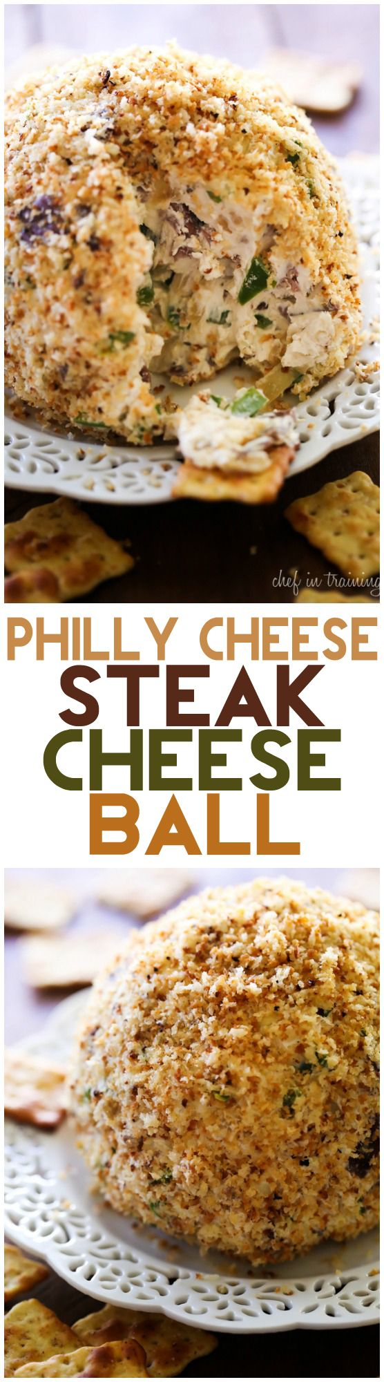 Philly Cheese Steak Cheese Ball... all the flavors you love from a popular sandwich, turned into one delicious and simple appetizer!