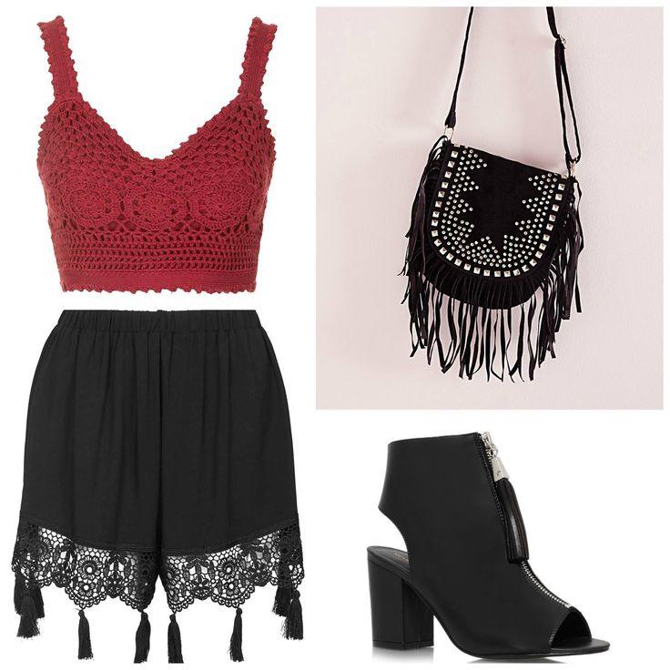 Stylebaby - Summer Outfit Inspo Topshop Crochet Crop Topshop Tassel Shorts Kurt Geiger SEVILLE Black Ankle Boots Missguided Fringed Studded Bag