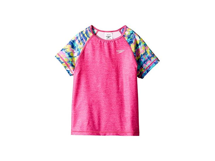 Speedo Kids Printed Short Sleeve Rashguard (Little Kids/Big Kids) Girl's Swimwear Bright Pink