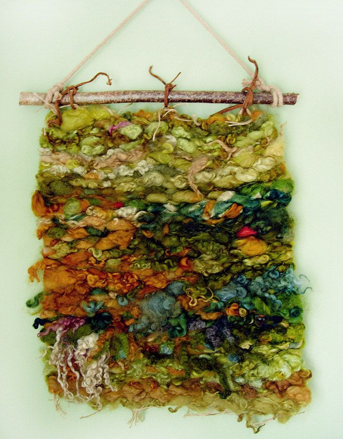 I love this wall hanging - Lichen inspired greens using natural dyed wool.