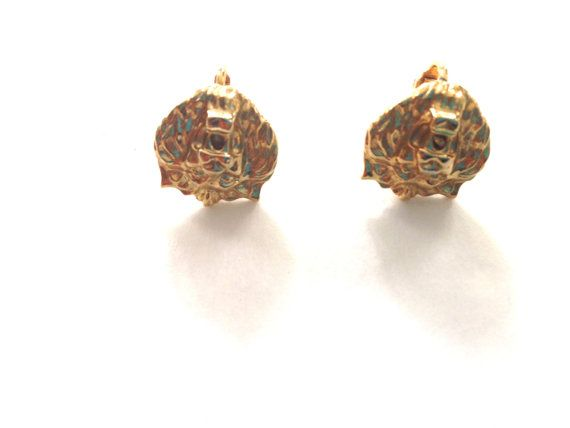Vintage lion head clip on earrings 50s Lion Head by HeiressVintage