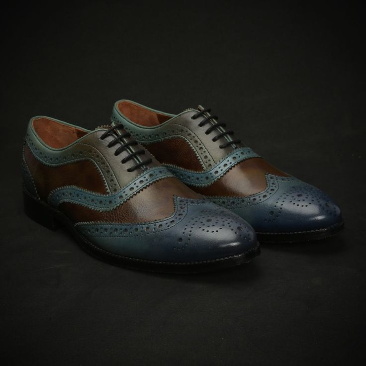BUY BLUE & OLIVE COLOR COMBINATION LEATHER HAND PAINTED #BROGUE SHOES FOR MEN ONLINE