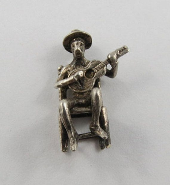 Sitting Man Playing Guitar Sterling Silver Vintage by SilverHillz