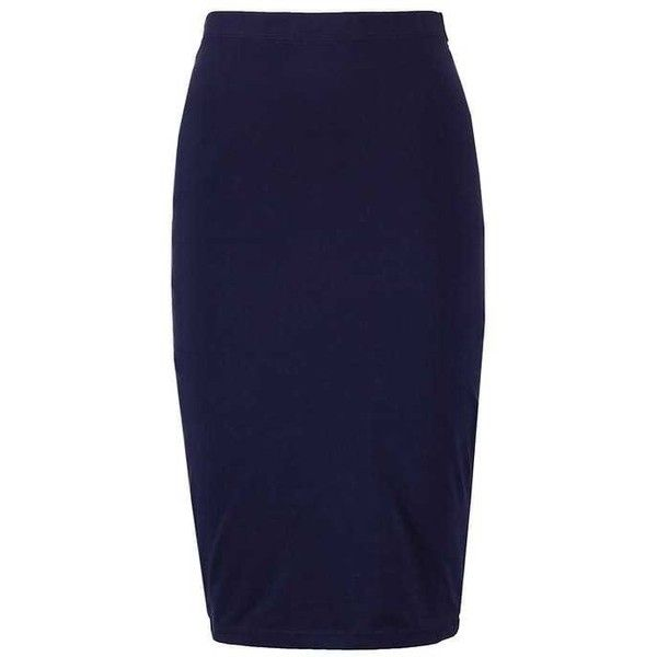 Blyantnederdel pencil skirts peacoat ZALANDO ❤ liked on Polyvore featuring skirts, blue skirt, knee length pencil skirt, blue pencil skirt and pencil skirts