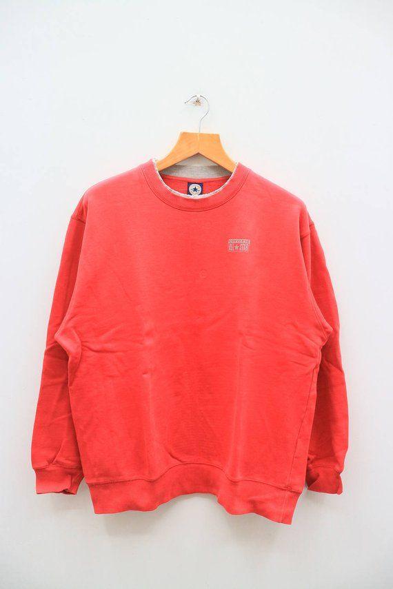 cb9c2e797ec6e Vintage CONVERSE All Star Chuck Taylor Red Sweater Sweatshirt Size L ...