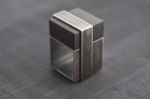Square Silver Statement Ring Black Silver and by MayakDesign