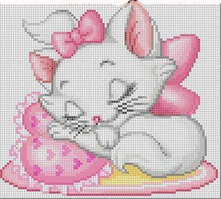 Cross-stitch Sleepy Kitty... no color chart available, just use pattern chart as your color guide.. or choose your own colors... ENCANTOS EM PONTO CRUZ: Gata Marrie