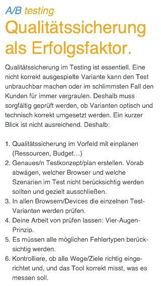 Qualitätssicherung als Erfolgsfaktor.